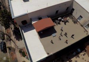 Students taking a rooftop break